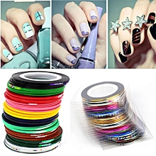 43Pcs Mixed Colors Rolls Striping Tape Line DIY Nail Art Tips Decoration Sticker-Multicolor
