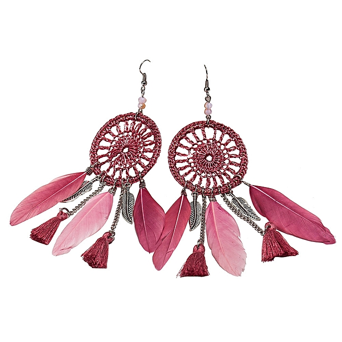 Buy Generic Shioakp New Bohemia Feather Beads Long Design Dream Enchanting Dream Catcher Earrings Online