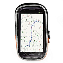 Touch Screen Quick Disassembling Fastener Double Zipper Bicycle Handlebar Phone Bag L - Orange