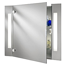 Searchlight Illuminated Bathroom Mirror 2 Light Cabinet with Shaver Socket