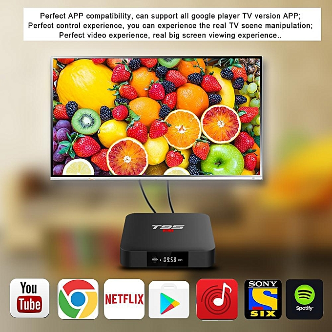 T95S1 64Bit 2GB RAM 16GB ROM + 6 Months Myiptv Subscription (1 Year  Warranty) (Black) BYX-A