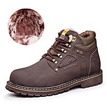 Winter Men Outdoor Hiking Mountain Shoes Leather Fleece Warm Up Men Trekking Shoes Waterproof Wearable - coffee
