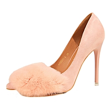 10.5cm High Thin Heel Stiletto Rabbit Hair Pumps (Pink)