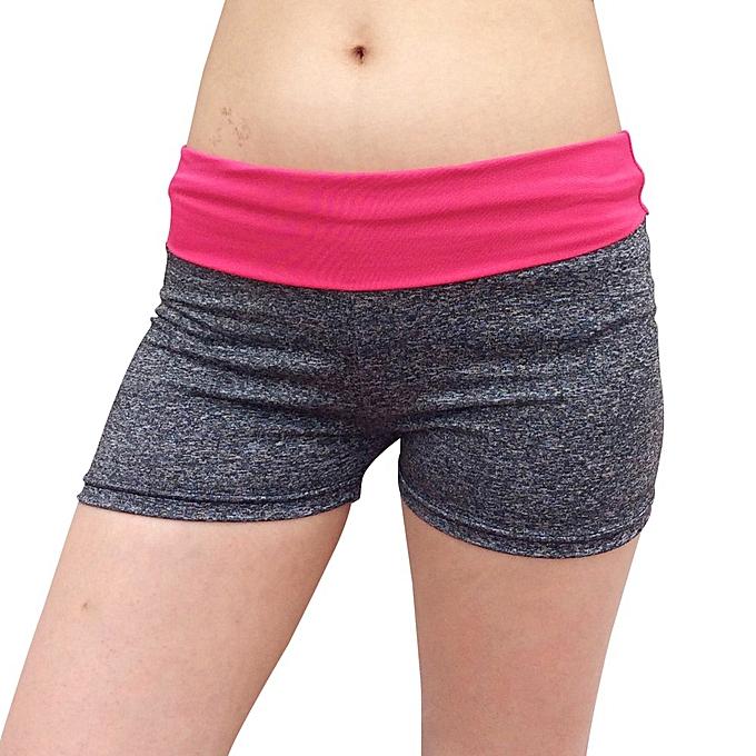 af3829fe83be2 Hiaojbk Store Women Patchwork Sports Shorts Gym Workout Waistband Skinny  Yoga Short Pant-Hot Pink