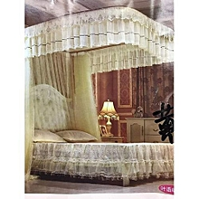 Mosquito Net With 2 Stands(WITH RAILS) - 6x6- CREAM