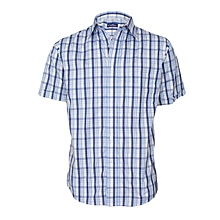 White & Blue Patterned Short Sleeved Shirt