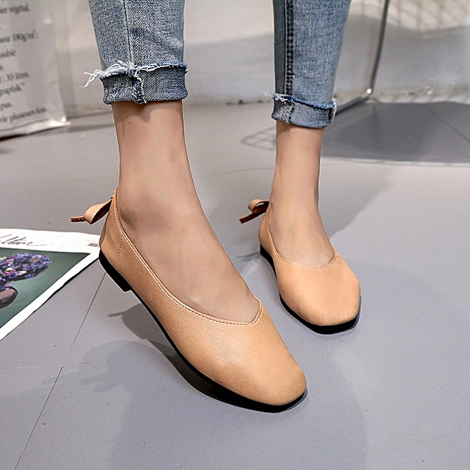 90fa0b18b84 ... New Stylish Women Square Head Comfortable Flat Loafers Artificial  Leather Single Shoes -Brown ...