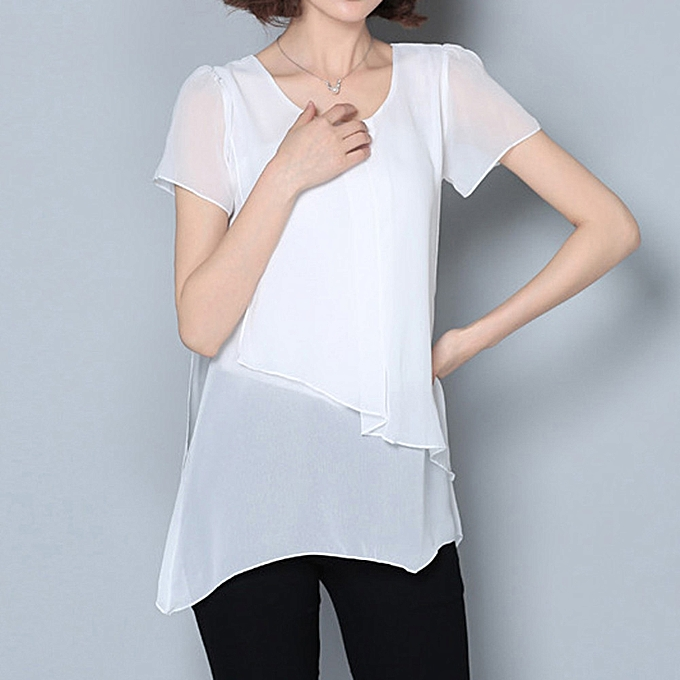43c2dacca53e Generic Fashion Women Casual Blouse Short Sleeve O-neck Irregular Hem  Chiffon T-Shirt ...