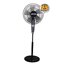 "AFS-16AT2 - 16"" Round Base - Stand Fan - 4 Speed -120 min Timer - Black."