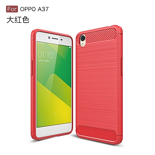 new product ffa0f 06361 For Oppo Neo 9 A37Soft Carbon Fiber Case Cover Shockproof Full Protector  Metal Wire Drawing Casing Armor For Oppo Neo 9A37 Shell 254705 (Red)