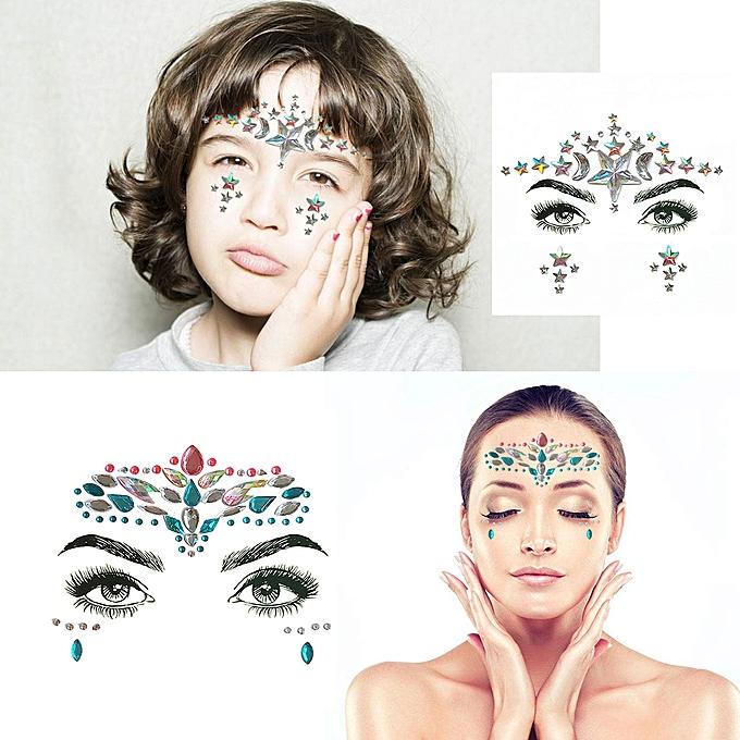 77afd5cef ... DIY Adhesive Face Gems Rhinestone Temporary Tattoo Jewels Festival  Party Body Glitter Stickers Flash Temporary Tattoos ...