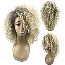 Africanmall  store Blonde Kinky Curly Wig Afro American Wigs Soft Synthetic Wig for Fashion Women -Gold