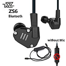 KZ ZS6 2DD+2BA Bluetooth Hybrid In Ear Earphone HIFI Sport DJ Monito Running Earphone Earplug Headset Earbud + Bluetooth Module(Black)  XYX-S