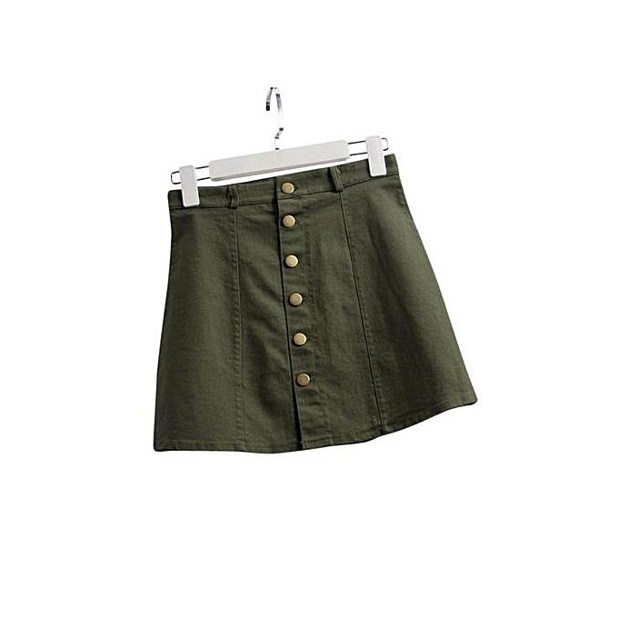 5ce2b6856a Hiaojbk Store Women's Fashion Waist Skirt Korean Style Denim Skirt AG L-  Army Green