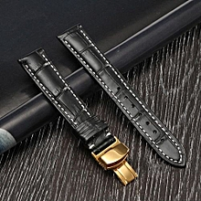18/20/22mm Leather Watch Strap Golden Buckle Deployant Style Clasp Black/Brown