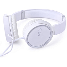 GJ-13 Wired Headset with Mic  (White, Over the Ear)