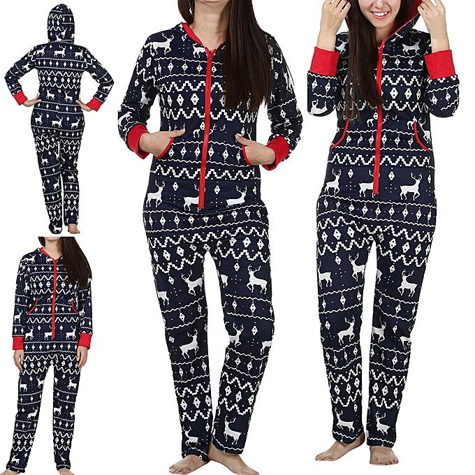 083e83e15831 Women Long Sleeve Ladies 3D Christmas Elk Printed Jumpsuit Pyjamas Nightwear