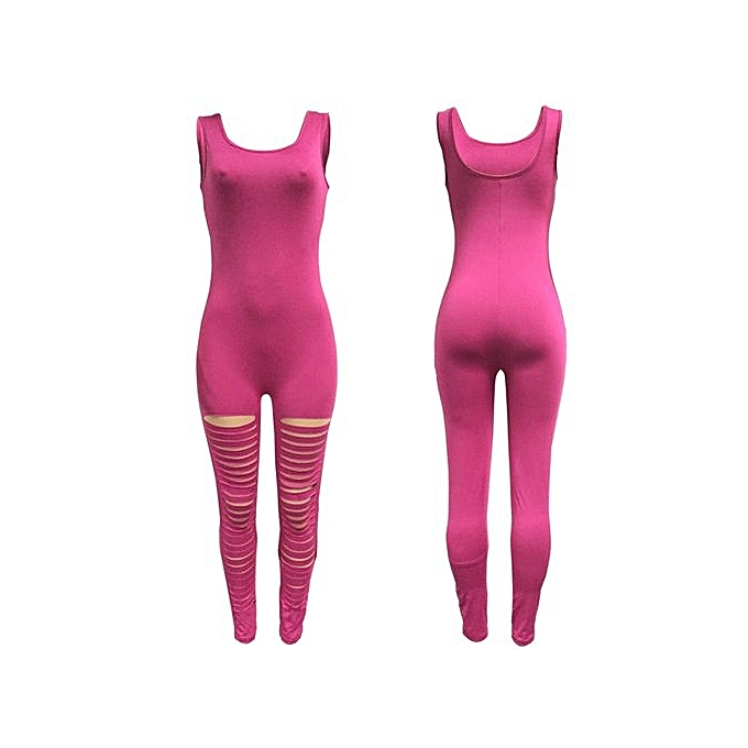 75caa56f424 New Arrival Women Casual Sleeveless Bodycon Romper Jumpsuit Club Bodysuit  Long Yoga Ripped Pants-pink