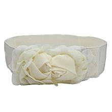 Hiamok_Fashion Double Rose Flower Buckle Elastic Waist Belt Lady Waistband