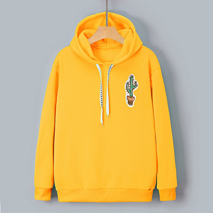 1b4fa764a huskspo Womens Long Sleeve Cactus Print Hoodie Sweatshirt Hooded Pullover  Tops Blouse