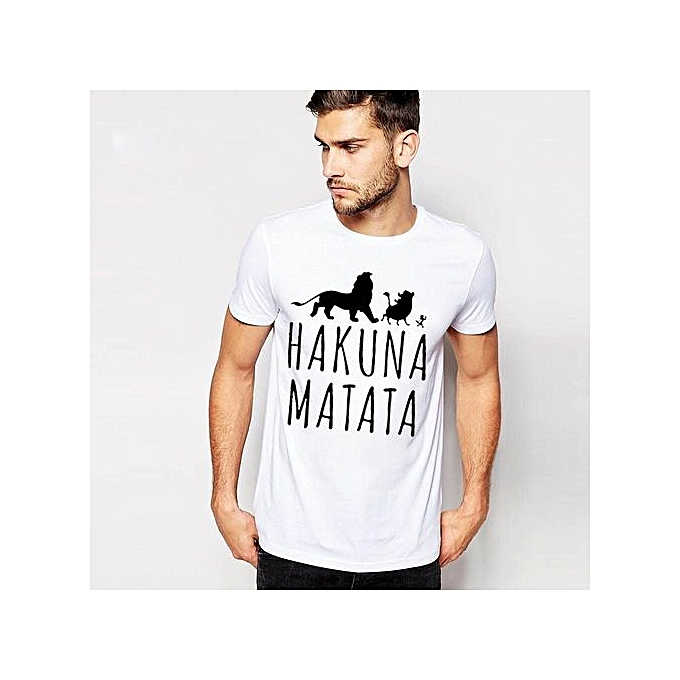 23ed23ac3a2ae New Summer Fashion Men T Shirt Boy Short Sleeve Cotton HakunaMatata  Printing Tees Shirts Casual T-Shirt Male Tops Shirt Clothes
