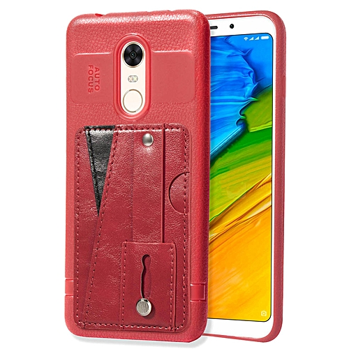 Redmi Note 5 Case,Slim Durable Sleek Leather Wallet Back Cover with Credit  Card Slots Kickstand and Wrist Strap Shockproof Stand Phone Case for Xiaomi