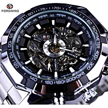 Forsining GMT101-4 Sport Racing Series Skeleton Stainless Steel Black Golden Dial Top Brand Luxury Watches Men Automatic Watch Clock Men WWD