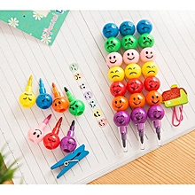 New 7 Colors Cute Stacker Swap Smile Face Crayons Children Drawing Gift