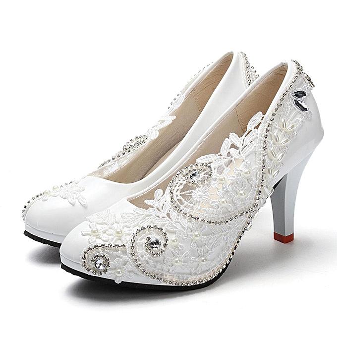d8df374fc5c Women Lace Bead Crystal Wedding Shoes Bridal Bridesmaid shoe Heels Party  Pumps-EU