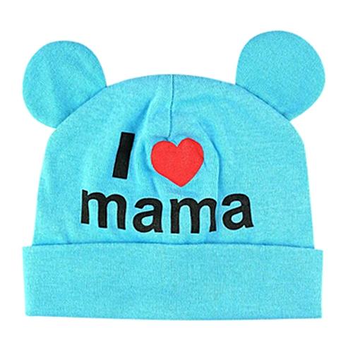 b0b2d67d23f Fashion jiuhap store Cute Infant Baby Girls Boys Cartoon Love Letter Print  Sleep Cap Headwear Hat-Blue