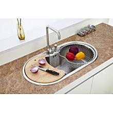 24cm-Deep Round Modern Kitchen Sink with Accessories