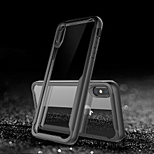 IPhone XS Silicon Transparent Case, PC And TPU Anti-knock Phone Back Cover For IPhone XS - Black