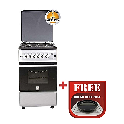 MST55PIAGSL/SD - Standing Cooker, 4Gas Burners, Gas Oven - Silver and Black + Free Tray