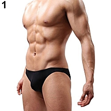 Men's Soft Tangas Jockstrap Underwear T-Back G-String Briefs Sexy Pouch Thongs-Black