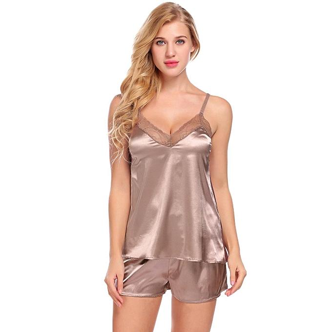 ba1c107a5708 Sunshine Satin Cami Set Lace-Trimmed Pajamas Set Sleepwear-Coffee ...