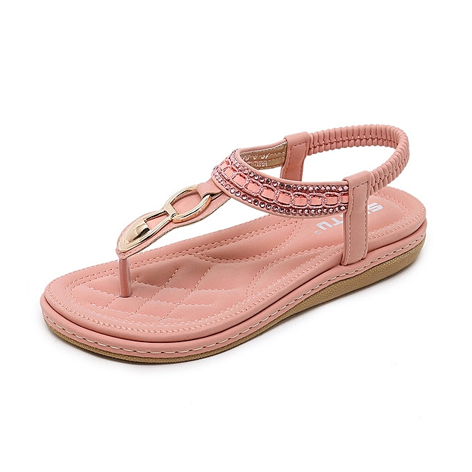 59a132bfe1aee Refined Super Large Size Leather Women Sandals Bohemian Diamond Slippers  Woman Flats Flip Flops Shoes Summer Beach Sandals -pink