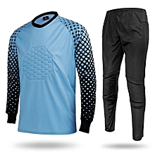 Men's Football Sports Goalkeeper Jersey Long Sleeves Shirts With Pants-Blue(SY12)