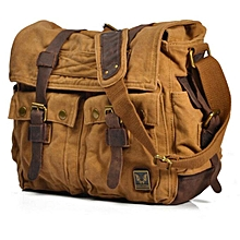 HIGH QUALITY VINTAGE MILITARY  CANVAS/LEATHER LAPTOP BAG (LIGHT BROWN)