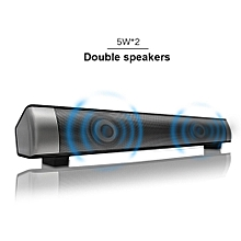 Wireless Bluetooth Soudbar Channel 2.0 TV Sound Bar with 3.5mm Aux TF Card LED Indicator, 10W Stereo Speaker with Clear Treble Built-in Microphone(Black) HT-S