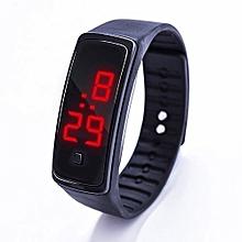 LED Watch Fashion Sport Digital Watch Silicone Running Bracelet Wrist Watch-Black