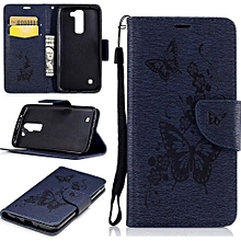 Mooncase Leather Case For LG K7 Premium PU Flip Cover With Magnetic Clasp Stand Blue