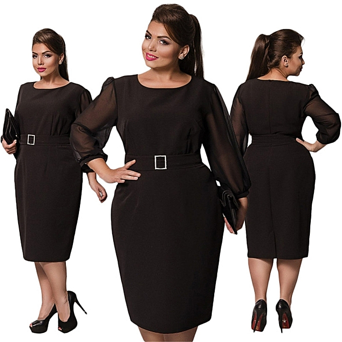 a4dd3f27d5c Fashion Large Size Dresses For OL Ladies Business Office Dresses Wear To  Work Elegant Pice Hip Bodycon Formal Dresses - Black - 18