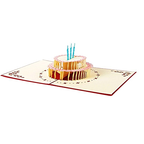 Generic Handcrafted 3D Birthday Card 2 Layers Cake Pop Up Hollow Carved Red