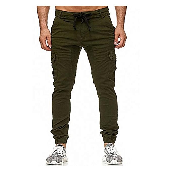 b8cba4c510 Army Green Men s Slim Fit Urban Straight Leg Trousers Casual Pencil Jogger  Cargo Pants