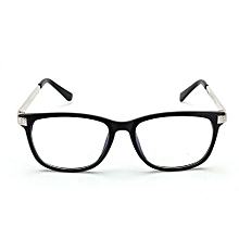 Retro Unisex Eyeglass Frame Full-Rim Glasses Clear Lens Metal Women Men Designer  Black+Silver