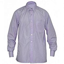Purple Mens Long Sleeved Striped Shirts