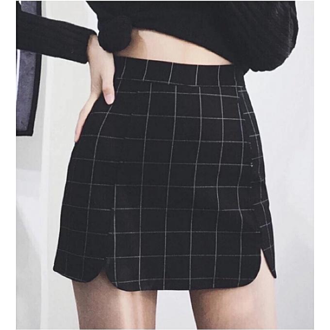 258bafc914d7 Vintage Women Plaid Sheath Bodycon Skirts OL High Waist Zippper Mini Skirts