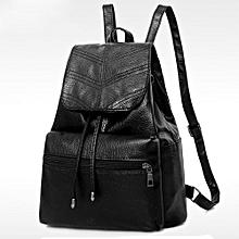 Women's Fashion Leather Drawstring School Bag Travel Backpack Bag