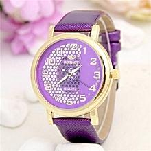 Wrist Watch Stylish Hollow Women Casual Girl Roman Numerals Modern Crystal Elegant(Purple)