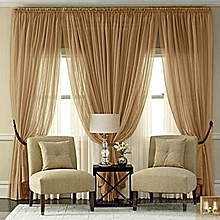 Golden brown sheer curtain-4pc